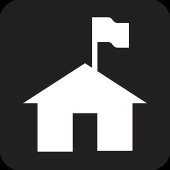 Home, House, Flag, Capture The Flag, Black, Symbol