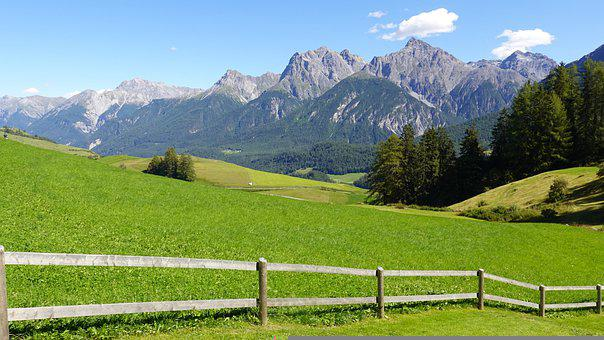 Mountains, Meadow, Grass, Pasture, Trees, Forest, Fence