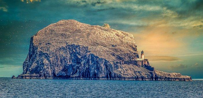 Island, Rock, Lighthouse, Beach, Sea, Ocean, Tropical