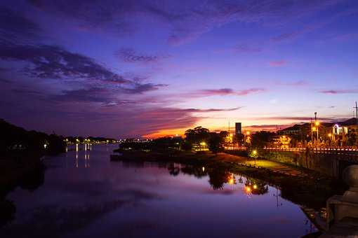 Buildings, Coast, Water, Reflection, City, Dawn, Nature