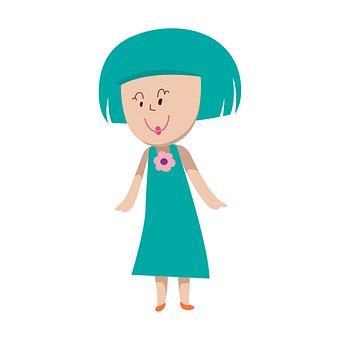 Girl, Dress, Smile, Cartoon, Drawing, Artwork