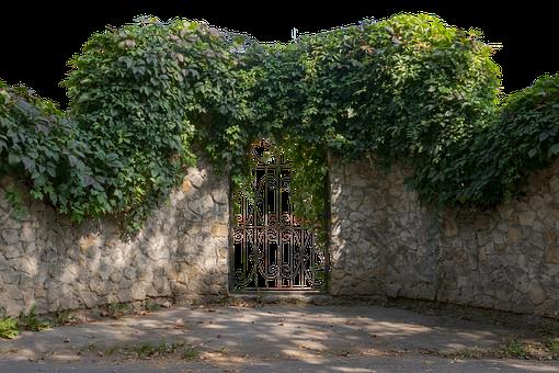 Gate, Entrance, Stonworks, Masonry, Plants, Vines