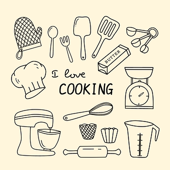 Doodle, Kitchen Utensils, I Love Cooking, Icons
