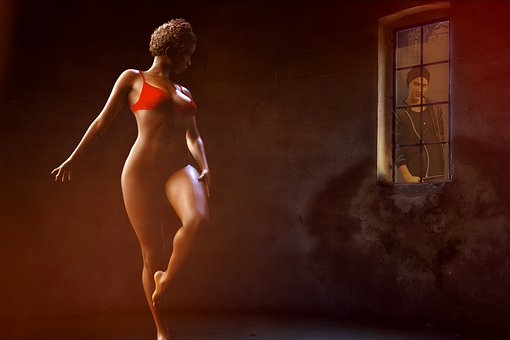 Woman, Nude, Naked, Art, Young, Lingerie, Window, Man