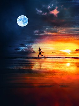 Running, Man, Running Man, Silhouette, Painting, Sunset