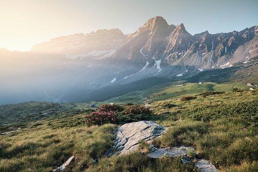 Mountains, Mountain Range, Valleys, Meadow, Fields
