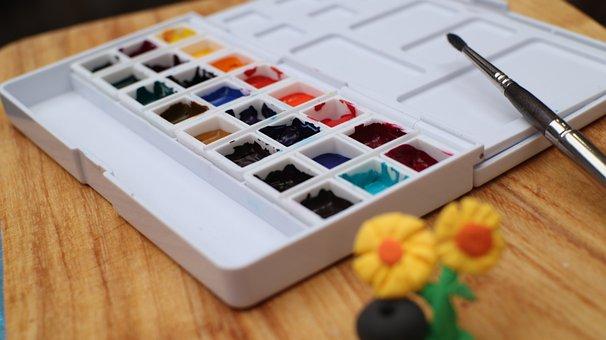 Watercolor, Palette, Paint, Paint Brush, Art