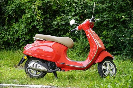 Vespa, Vespa Primavera, Red Scooter, Scooter, Italian