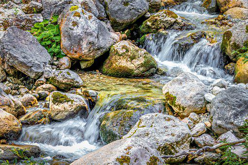 Cascade, Stream, River, Creek, Water, Rocks, Stones