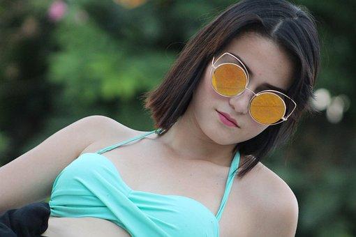 Woman, Model, Sunglasses, Swimsuit, Swimwear, Young