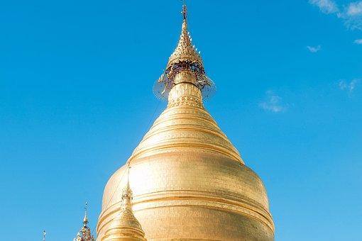 Temple, Tower, Building, Gold, Myanmar Burma