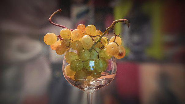 Grapes, Fruit, Wine Glass, Goblet, Glass, Vitamins