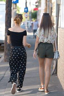 Women, Young, Walking, Alley, Street, Buildings, Urban
