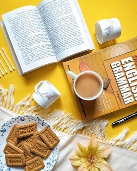Books, Cups, Cookies, Treat, Snack, Tea, Earbuds