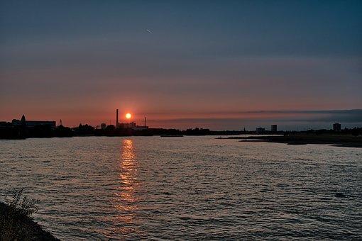 River, Building, Port, Sunset, City, Skyline, Evening