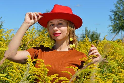 Woman, Red Hat, Field, Flowers, Plants, Flora, Bloom