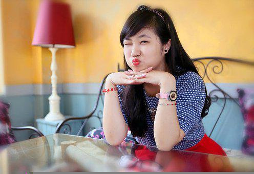 Woman, Model, Casual, Table, Lamp, Funny, Gesture