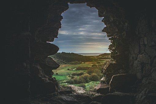 Cave, Rocks, Grassmvegetation, Frame, Castle, Nature