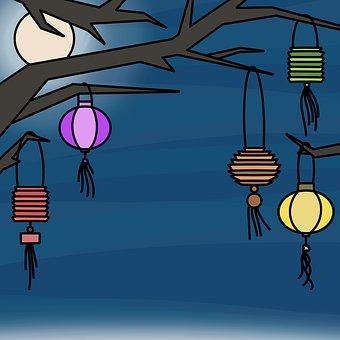 Lampions, Lanterns, Tree, Moon, Night, Festival, Light