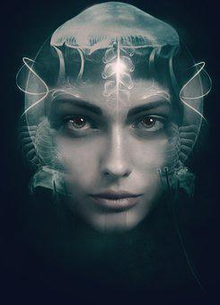 Woman, Girl, Young, Make Up, Face, Jellyfish, Glow