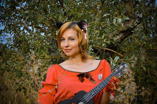 Woman, Cosplay, Ukulele, Cat Costume, Girl, Music