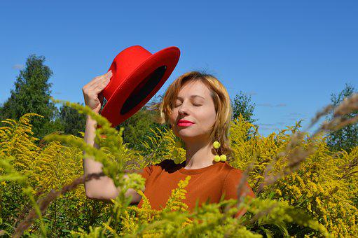 Woman, Red Hat, Field, Flowers, Plants, Flora, Bloom
