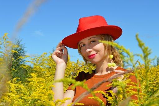 Woman, Red Hat, Field, Lady, Girl, Flowers, Plants