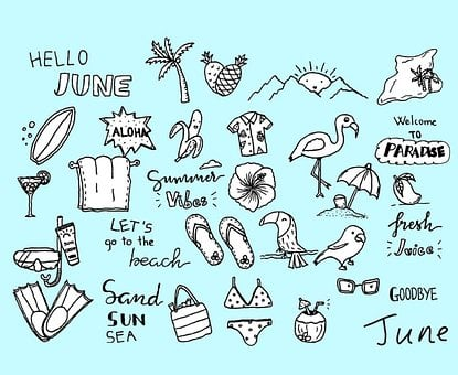 June, Doodle, Tropical, Beach, Sand, Sun, Sea