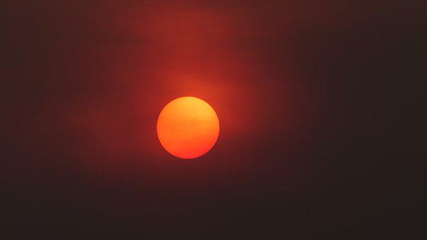 Sun, Sunset, Sunlight, Orange, Glowing, Smoky, Skyscape