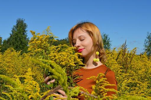 Woman, Flowers, Field, Plants, Flora, Bloom, Blossom