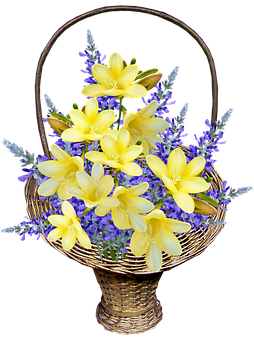 Flowers, Freesias, Bouquet, Basket, Arrangement