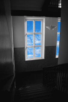Window, Stairs, Staircase, House, Home, Blue Skies