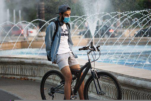 Boy, Young, Man, Person, Bicycle, Smartphone, Mask