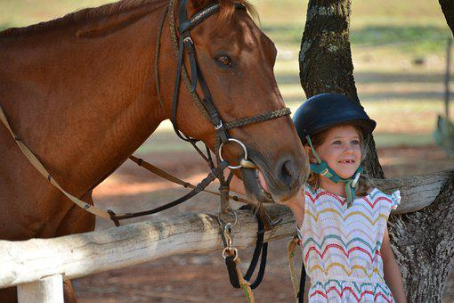 Horse, Child, Little Girl, Equine, Happy, Sweet