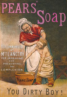 Boy, Woman, Child, Bath, Pears Soap, Water, Face, Scrub