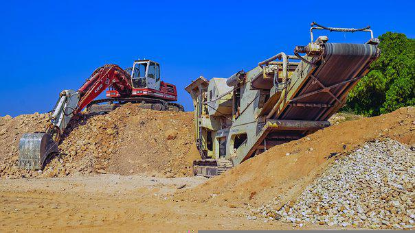 Excavator, Crusher, Gravel Pit, Construction Site