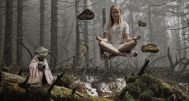 Child, Yoda, Float, Photomontage, Fantasy, Surreal