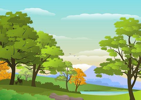 Landscape, Nature, Trees, Plants, Foliage, Lake, Deer