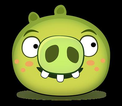 Pig, Pork, Character, Doodle, Cartoon, Head, Green