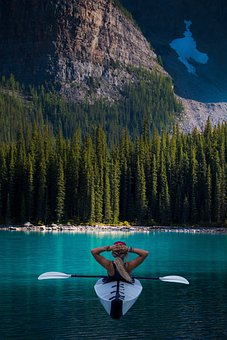 Mountain, Person, Kayak, Forest, Trees, Landscape