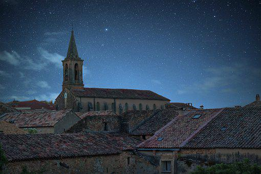 Landscape, People, Church, Night, Star, Architecture