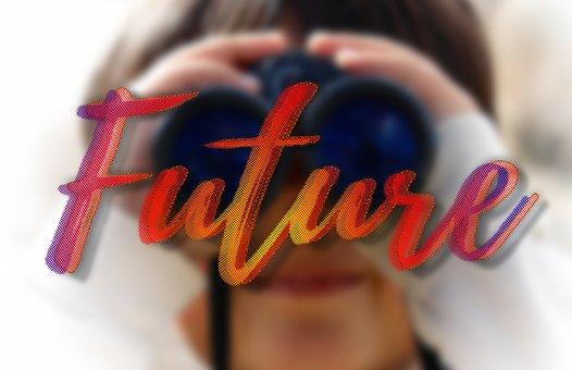 Future, Binoculars, Looking, Looking Into The Future
