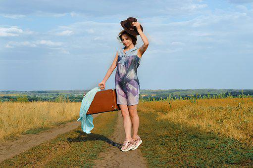 Woman, Model, Country Girl, Road, Journey, Vacation