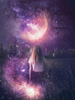 Girl, Moon, Stars, Galaxy, Night, City, Space, Person