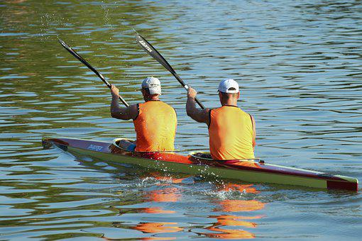 Men, Kayak, Kayaking, Paddles, Paddling, Rowing