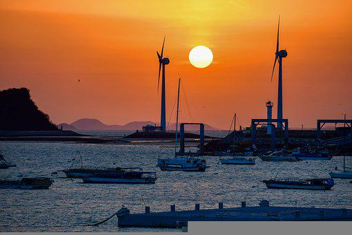 Sunset, Boats, Boatyard, Port, Pier, Windmills, Sea