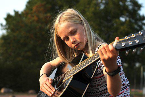 Little Girl, Guitar Player, Playing The Guitar