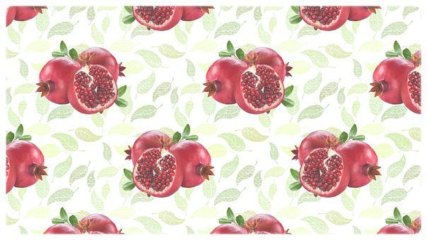 Pomegranate, Fruit, Pattern, Fresh, Leaves, Ripe
