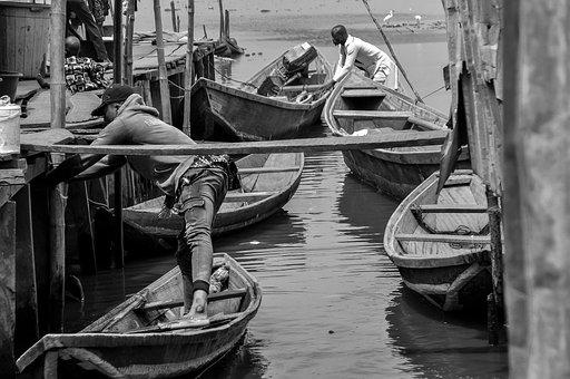 Boats, Canoes, People, Fishermen, Port, Pier