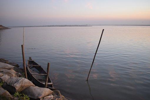 River, Sky, Sunset, Boat, Nature, Evening, Dusk